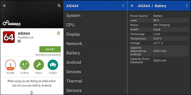 Phần mềm kiểm tra pin điện thoại Android AIDA64