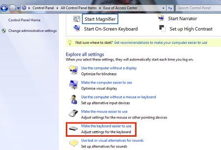 Tìm kiếm và chọn mục Make the keyboard easier to use.