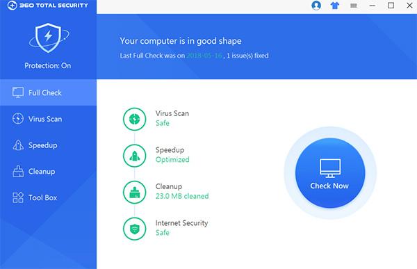 Phần mềm quét virus Qihoo 360 cung cấp các tính năng toàn diện